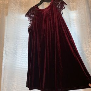 NWT Velvet shift dress with lace sleeves